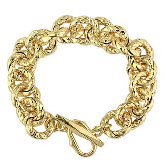 Miadora Yellow Gold Plated Italian Sterling Silver Link Bracelet