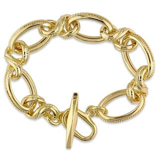Miadora Yellow Gold Plated Italian Sterling Silver Oval Link Bracelet