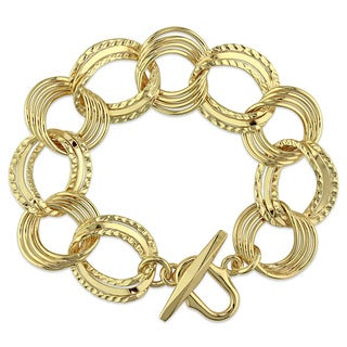 Miadora Yellow Gold Plated Italian Sterling Silver Multi-circle Link Bracelet