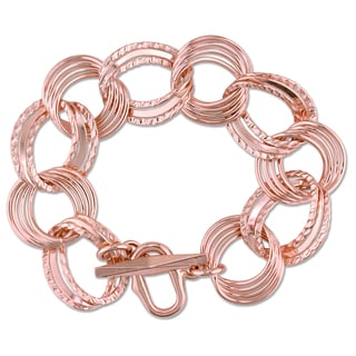 Miadora Rose Gold Plated Italian Sterling Silver Multi-circle Link Bracelet