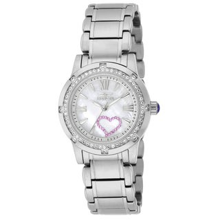 Invicta Women's 18604 Angel Quartz 3 Hand White Dial Watch