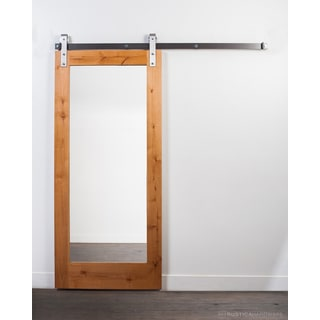 Rustica Hardware Brown/ Clear Wood/ Steel-coated Mirror Barn Door with Industrial Hardware