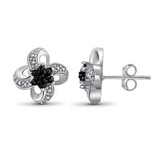Jewelonfire Sterling Silver Black Diamond Accent Flower Earrings