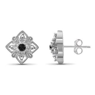Jewelonfire Sterling Silver Black Diamond Accent Earrings