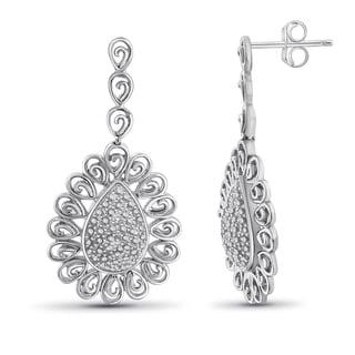 Jewelonfire Sterling Silver White Diamond Accent Pear Shape Earrings