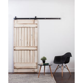 Rustica Hardware White Glazed Wood Ranch Barn Door with Sliding Hardware