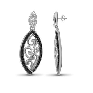 Jewelonfire Sterling Silver Black Diamond Accent Marquise Shape Earrings