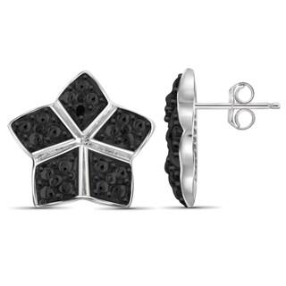 Jewelonfire Sterling Silver Black Diamond Accent Star Earrings
