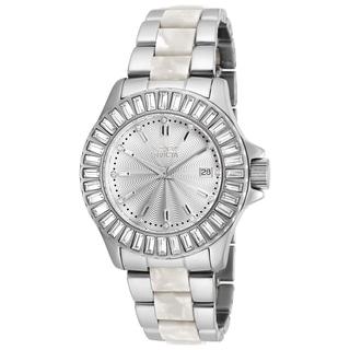 Invicta Women S 18874 Angel Quartz 3 Hand Silver Dial Watch