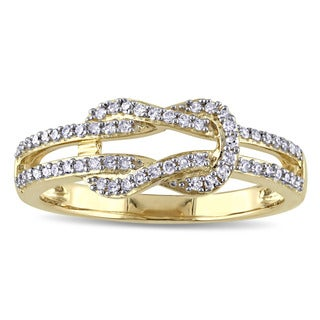 Miadora 10k Yellow Gold 1/4ct TDW Diamond Interlocking Ring
