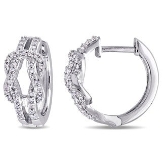 Miadora 10k White Gold 1/4ct TDW Diamond Interlocking Hoop Earrings