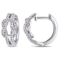 Miadora 10k White Gold 1/4ct TDW Diamond Interlocking Hoop Earrings
