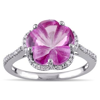 Miadora Sterling Silver Pink Topaz and 1/6ct TDW Diamond Flower Cocktail Ring (G-H, I2-I3)