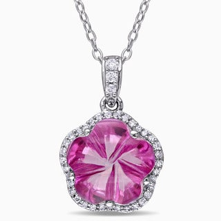 Miadora Sterling Silver Pink Topaz and 1/6ct TDW Diamond Halo Flower Necklace (G-H, I2-I3)