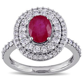 Miadora Signature Collection 14k White Gold Oval-cut Ruby and 7/8ct TDW Diamond Halo Engagement Ring