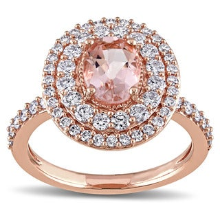 Miadora Signature Collection 14k Rose Gold Oval-cut Morganite and 7/8ct TDW Diamond Halo Engagement