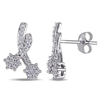 Miadora 14k White Gold 1/3ct TDW Diamond Shooting Stars Cluster Earrings