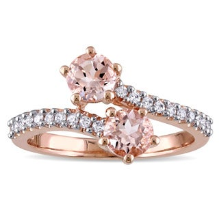 Miadora 10k Rose Gold Morganite and 1/5ct TDW Diamond Bypass Ring (G-H, I2-I3)
