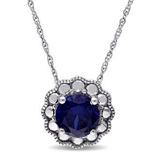 Miadora 10k White Gold Created Blue Sapphire Birthstone Halo Necklace