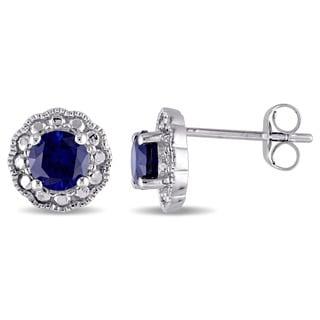 Miadora 10k White Gold Created Blue Sapphire Birthstone Halo Earrings
