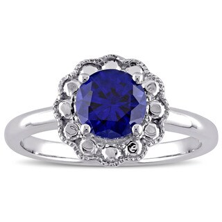 Miadora 10k White Gold Created Blue Sapphire Birthstone Halo Ring
