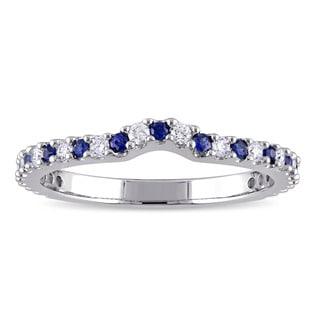 Miadora Signature Collection 14k White Gold Sapphire and 1/5ct TDW Diamond Contour Wedding Band (G-H, SI1-SI2)