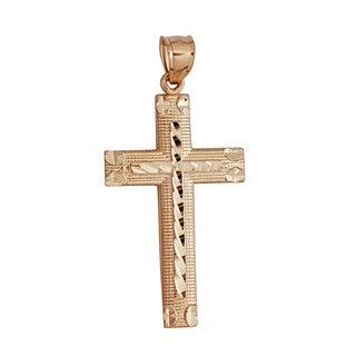 Decadence 14k Gold Yellow Diamond-cut Cross Pendant