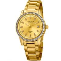 Akribos XXIV Women's Quartz Diamond Stainless Steel Gold-Tone Bracelet Watch with FREE Bangle