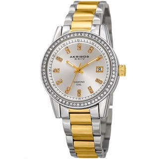 Akribos XXIV Women's Quartz Diamond Stainless Steel Two-Tone Bracelet Watch