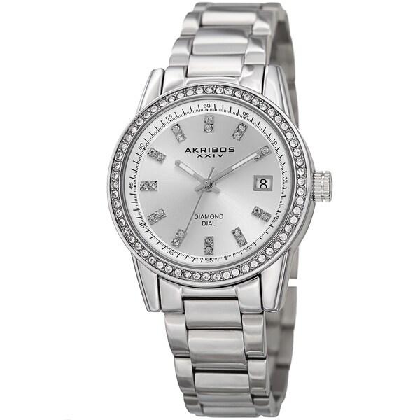 Akribos XXIV Women's Quartz Diamond Stainless Steel Silver-Tone Bracelet Watch