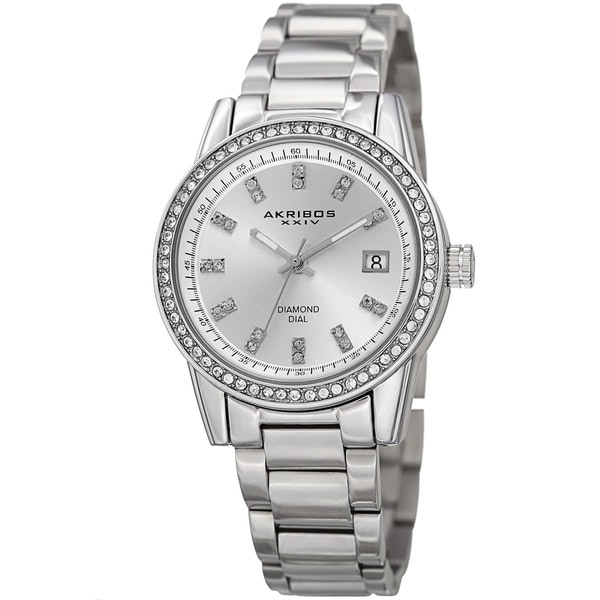 Akribos XXIV Women's Quartz Diamond Stainless Steel Silver-Tone Bracelet Watch with FREE Bangle
