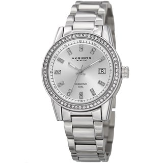 Akribos XXIV Women's Quartz Diamond Stainless Steel Silver-Tone Bracelet Watch