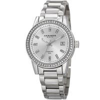 Akribos XXIV Women's Quartz Diamond Stainless Steel Silver-Tone Bracelet Watch with FREE Bangle
