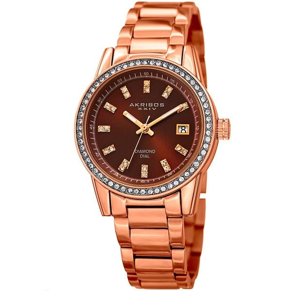 Akribos XXIV Women's Quartz Diamond Stainless Steel Rose-Tone Bracelet Watch. Opens flyout.