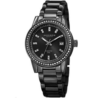 Akribos XXIV Women's Quartz Diamond Stainless Steel Black Bracelet Watch