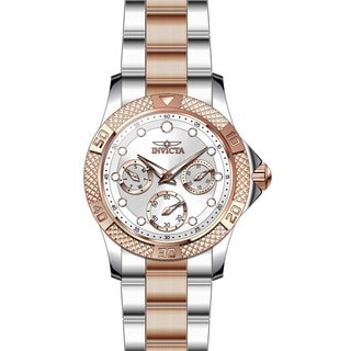 Invicta Women's 21762 Angel Quartz Chronograph Silver, Rose Gold Dial Watch