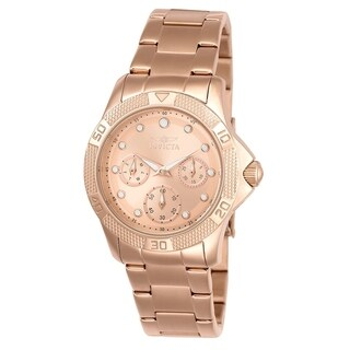 Invicta Women's 21765 Angel Quartz Chronograph White, Rose Gold Dial Watch