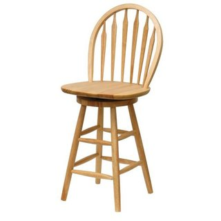 Natural-finish Solid Wood 24-inch Windsor Swivel Stool