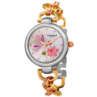 Akribos XXIV Women's Quartz Swarovski Crystal Chain Style Tri-Color Bracelet Watch with FREE Bangle