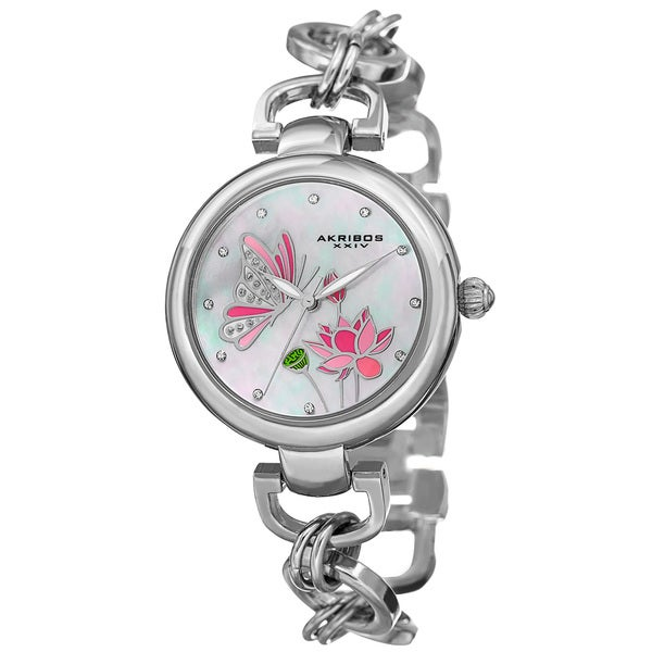 Akribos XXIV Women's Quartz Swarovski Crystal Chain Style Silver-Tone Bracelet Watch with FREE Bangle