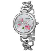 Akribos XXIV Women's Quartz Swarovski Crystal Chain Style Silver-Tone Bracelet Watch with FREE Bangle