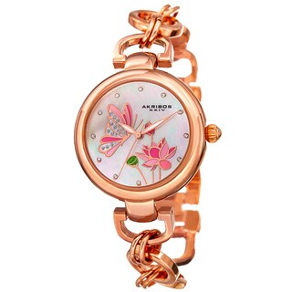 Akribos XXIV Women's Quartz Swarovski Crystal Chain Style Rose-Tone Bracelet Watch