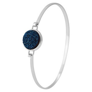 Sterling Silver Blue Drusy High-polish Bangle Bracelet