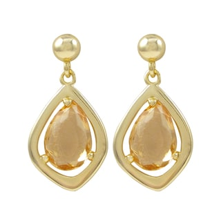 Luxiro Gold Finish Sterling Silver Sliced Glass Teardrop Earrings