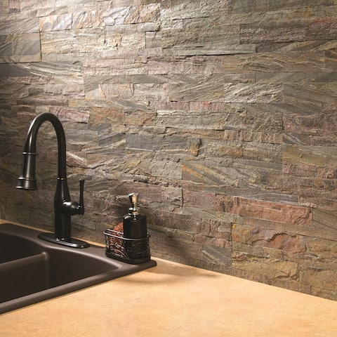 Aspect 6 x 24-inch Weathered Quartz Peel and Stick Stone Backsplash