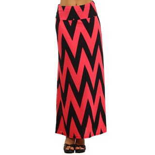 MOA Collection Women's Chevron Striped Maxi Skirt