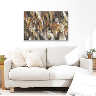 Hobbitholeco. Sanjay Patel, Yellow Forest I Abstract, Gel Brush Finish Canvas Wall Art Decor, Gallery Wrapped 30X40