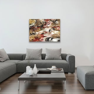 Hobbitholeco. Sanjay Patel, Red Forest I Abstract, Gel Brush Finish Canvas Wall Art Decor, Gallery Wrapped 30X40