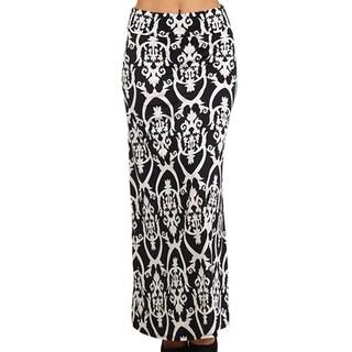 MOA Collection Women's Black Damask Print Maxi Skirt