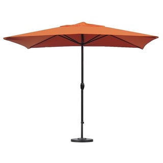 Escada Designs Sunset Orange Rectangular Patio Umbrella with Base